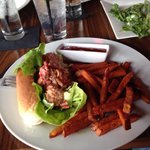 The Lobster Roll with Sweet Potato fries.