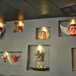 Collection of masks on wall