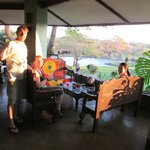 """this is the open-sided gazebo """"bar"""" outdoor dining area.  sunset!"""