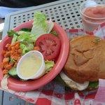 at pool bar, green salad and burger