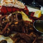 Saturday night surf and turf.  Lobster with filet.  Added mushrooms and onions.  Perfect!