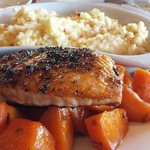 Bronzed salmon, candied carrots,  cheddar grits.