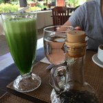 KALE juice.. It comes with varieties of flavor, mango, banana and pineapple.