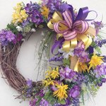 Easter wreath, nice decorations abound.