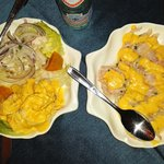 ceviche clasico y huancaina.