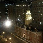 "The view of the Old State House from our window. That is also where the Orange and Blue line ""St"