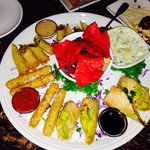 Appetizer Sampler platter was delicious, especially the Avocado rolls!!