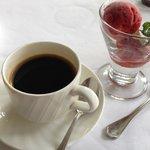 Nespresso coffee with strawberry sorbet