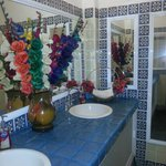 Super clean and colorful bathroom.