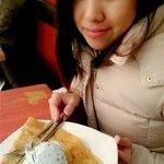 crepe and mints ice-cream