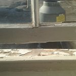 State of decor - our windowsill with peeling paint