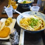 Ontama Udon + Tempura + Musubi + Croquette