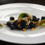 Fraser Isle Spanner Crab and Squid Ink Gnocchi  sorrel, fermented chilli, sweet corn