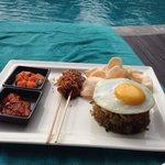 Nasi goreng by the pool