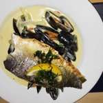 Sea bass with mussells