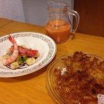 Gazpacho de gamba de palamos, tortillas de camarones