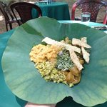 Lunch on a lotus leaf