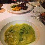 Sea bass filled ravioli with asparagus cream sauce