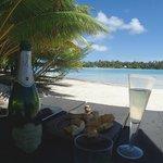 Champagne on private beach