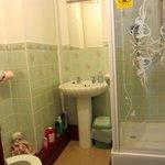 Sink and shower in the en suite bathroom.