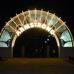 Louis Armstrong park entrance at night