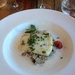 Le Retour de Pêche : Merlu / Risotto aux Champignons / Emulsion au Parmesan