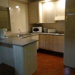 kitchen area in studio apartment