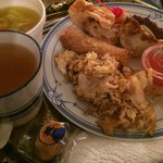 Take out of egg drop soup, chicken fried rice, egg roll, fried dumplings, and teriyaki beef stic