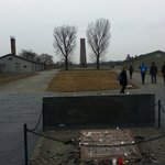 Inside Sachsenhausen concentration camp; view of original buildings and Soviet War Memorial