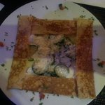 Savoury crepe with goat cheese and courgette (zucchini)
