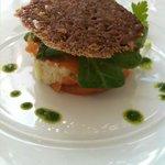 entrée saumon et crabe