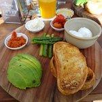 Vego breakfast board $29.00. Inc feta & capsicum pesto.