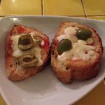 Bread with cheese and olives