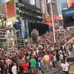 a Busy time square