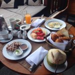 Amazing breakfast on our balcony over looking the lagoon