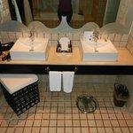 Main bathroom area; sinks/soaker tub, WC, and shower.
