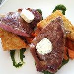 NY Strip, potato cake, glazed carrots, chimichurri, herb butter