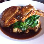 Pork Chop in Cider Reduction & Savory Apple Bread Pudding