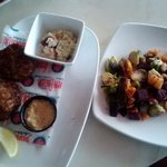 crab cakes and fire-roasted vegetables