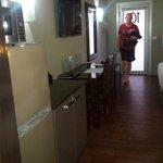 Kitchenette - Coffee perculator, microwave, toaster, fridge freezer.