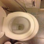 Assento do vaso sanitário é visivelmente pequeno demais!