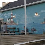 Wall mural and outdoor seating