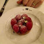 One of the great desserts - raspberry tart with pistachios and chocolate