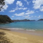 Shallow but clean beach with plenty of room looking at Little Tobago