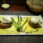 Chorizo Hash with mushrooms and Asparagus topped with poached eggs.