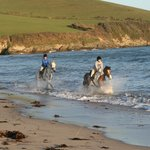 Cantering on Par Beach a short trailer ride  from Chark