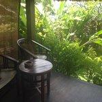 Private terrace in the hut