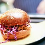 Pork Burger - Louisiana Pulled Pork, BBQ Glaze & Red Cabbage Slaw
