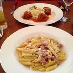 penne carbonara and meatballs with garlic spaghetti!