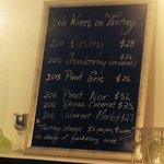 Tasting list at 'Velo', Apr 2014